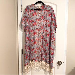 Forever 21 Floral Tassle Kimono size Small